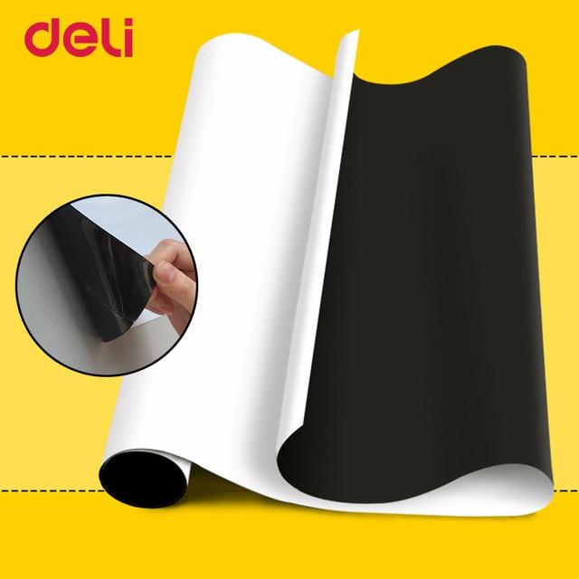 Deli Ferro Magnético Quadro Branco Macio Adesivos de Parede Escritório Mensagem Erasable Whiteboard Papel Pintura Adesivo Lousa Corte Livre