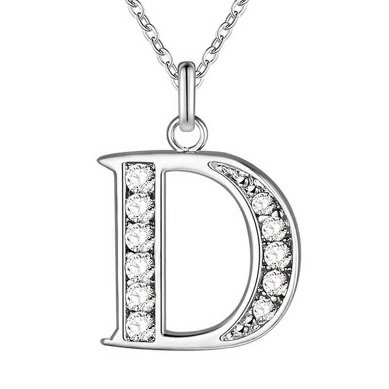 Модные ожерелья с подвесками в виде букв, посеребренное колье из нержавеющей стали, оригинальное блестящее ожерелье с кристаллами для женщин и девушек, ювелирные изделия, колье