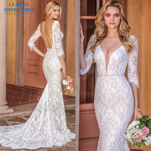 CLOUDS IMPRESSION Mermaid Wedding Dresses Half Sleeves