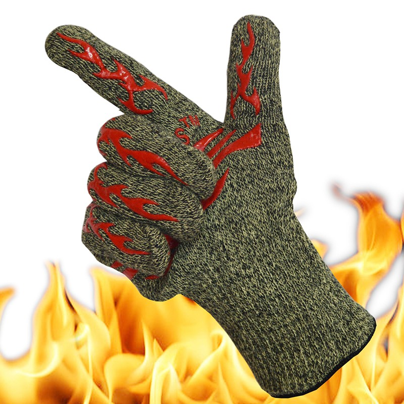 High Temperature Resistant 500 Degree Flame Retardant Non-slip Aramid Barbecue Insulated Waterproof Gloves Barbecue Work Gloves
