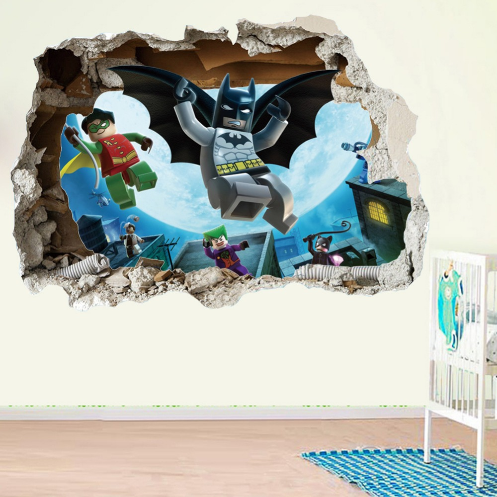 2017 lego batman superhero broken wall sticker children for Decorative mural painting
