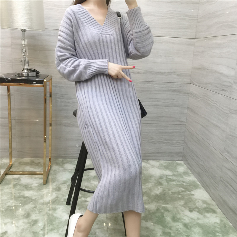 Women Knitted Sweater Dress Pullover Long Sleeve V-neck Lady Autumn Winter Long Loose Dress Fashion Womens Clothing LQ121