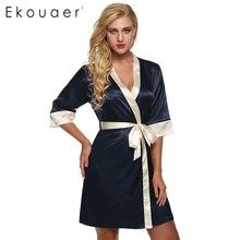 Ekouaer женщин кимоно одеяние колен халат сексуальное женское белье пижамы короткие атласные кружева ночное белье невесты одежды xs-xl