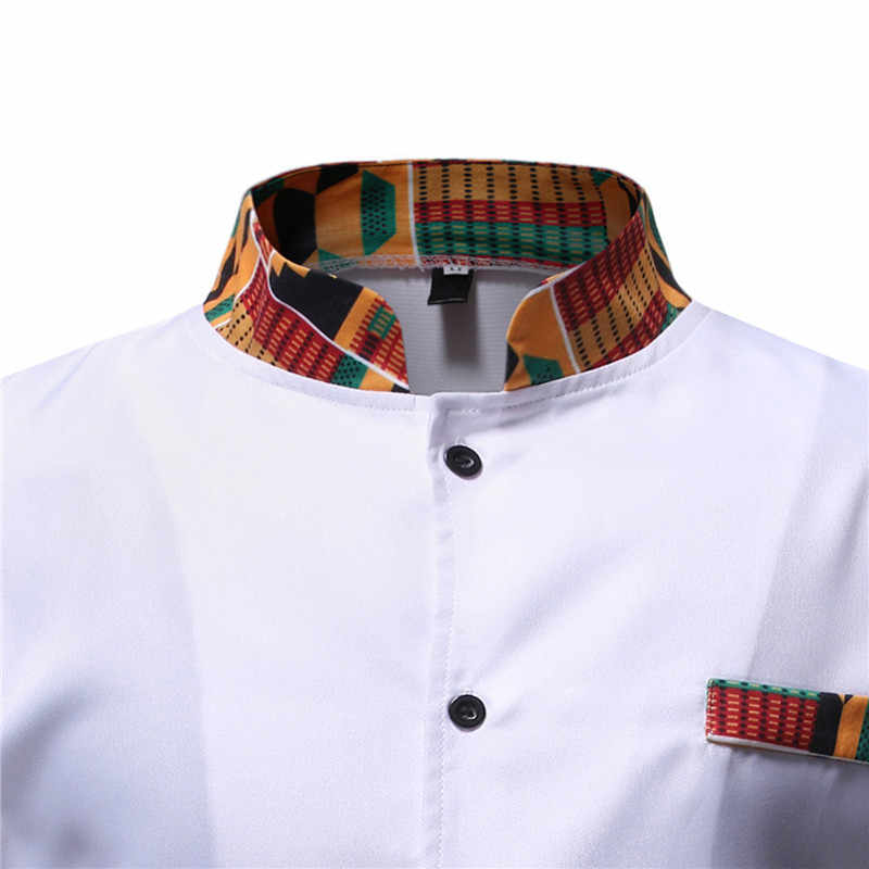 白 Afriacn Dashiki ドレスシャツパンツセット 2 個衣装セットストリートカジュアル男性アフリカ服アフリカンスーツ男性シュミーズ