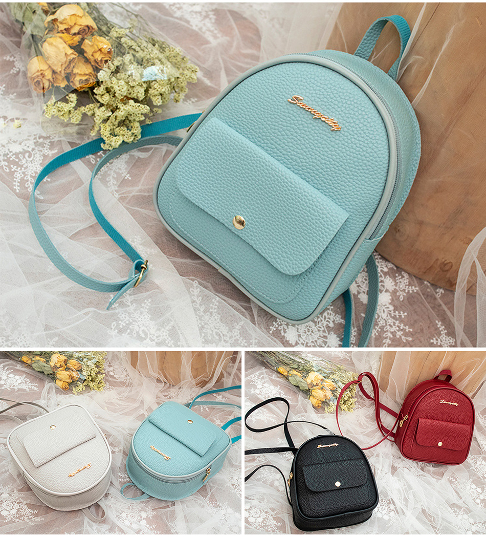 HTB1J6cJXEGF3KVjSZFmq6zqPXXa1 2019 Mini Backpack Women Korean Style PU Leather Shoulder Bag For Teenage Girls Multi-Function Small Bagpack Female Phone Pouch