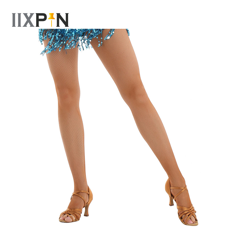 Professional Latin Dance Fishnets Toe Socks Net With Crotch Latin Dance Clothing High Waisted Pantyhose Latin Stockings Tights