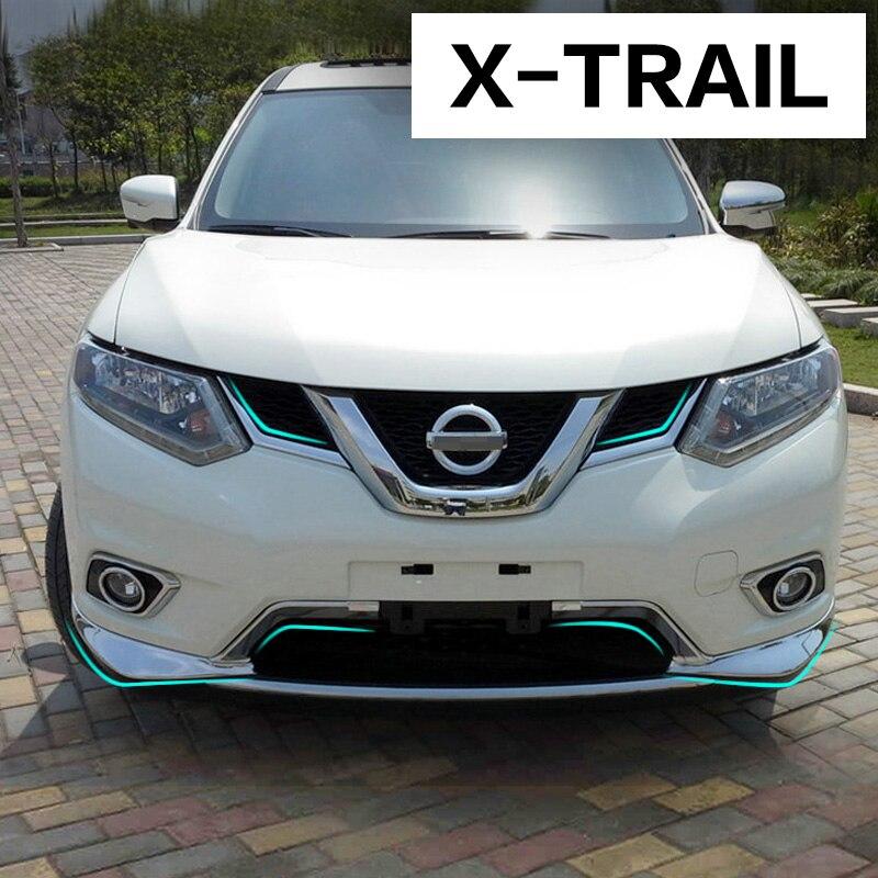 Prix pour Car Styling Racing Grilles Autocollant Pour Nissan ABS Chrome Couverture Bandes de Garniture Pour Nissan X-trail Rogue 2013-2016 2017 Accessoires