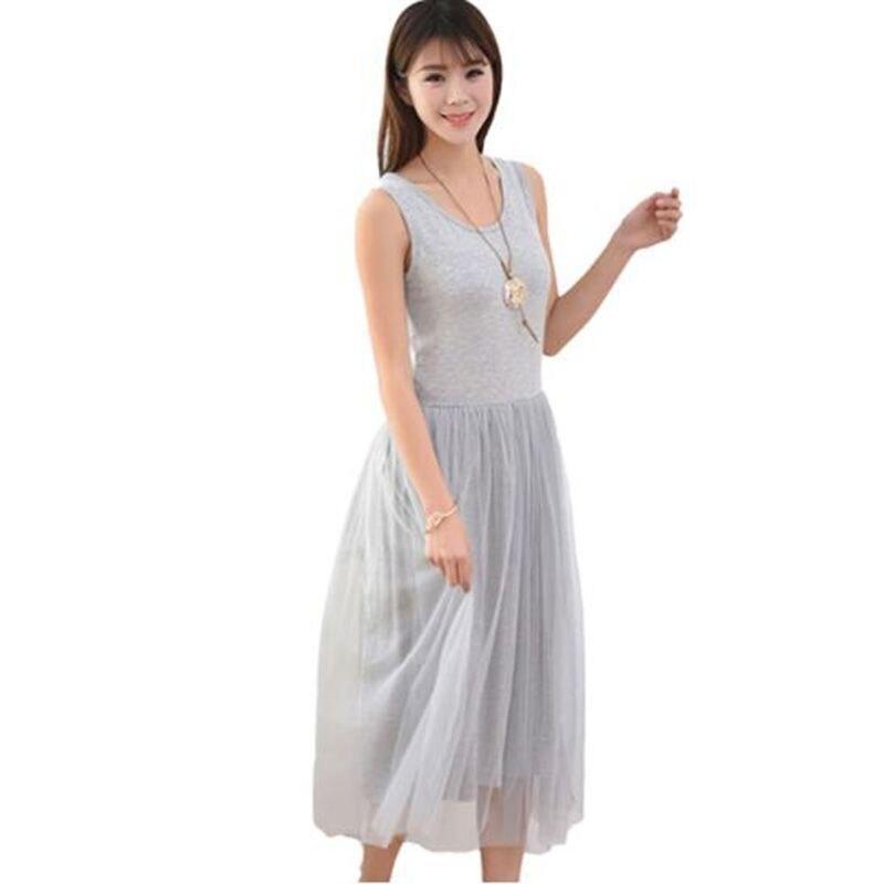 Sleeveless Mesh patchwork basic spaghetti strap Dress For Women 2020 Spring Tulle Elastic Lace Vest Summer Dress Female 4