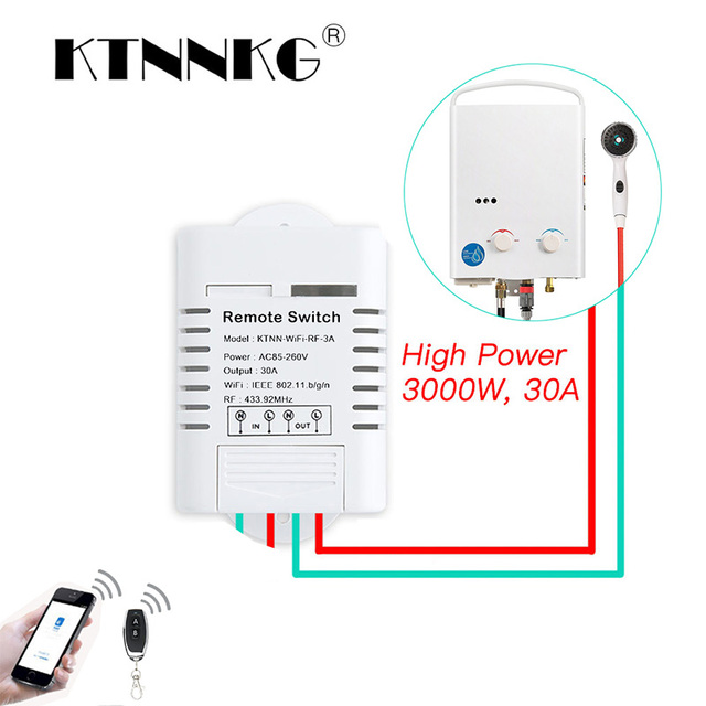 30A Wifi relais commutateur ca 110V 220V 1CH bricolage Modules dautomatisation récepteur maison intelligente et émetteur récepteur universel Ev1527 433MHz RF