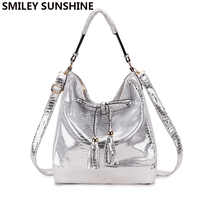 SMILEY SUNSHINE band big messenger bag women's shoulder bag ladies silver white leather handbags female tote bags for women