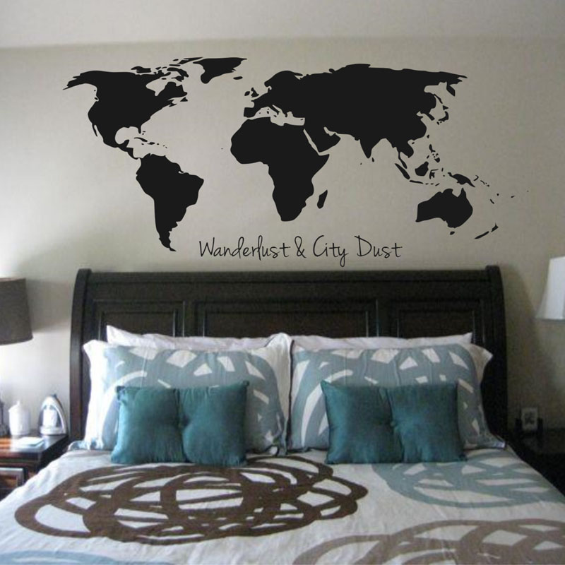 BucKoo hot wall stickers Wanderlust And City Dust World Map Wall ...