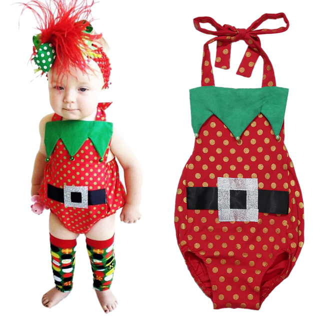 newborn baby girls christmas clothing outfits sleeveless halter backless dots romper baby girl clothes toddler girl