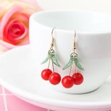 hot red Cherry earrings eardrop Sweet fruit fresh cherry female fashion youth beautiful girl students for women