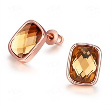 2017 New Crystal From Swarovski Earrings For women 925 Jewelry fashion korean style Cube dangle Ear Hook Brincos Boucle(China)