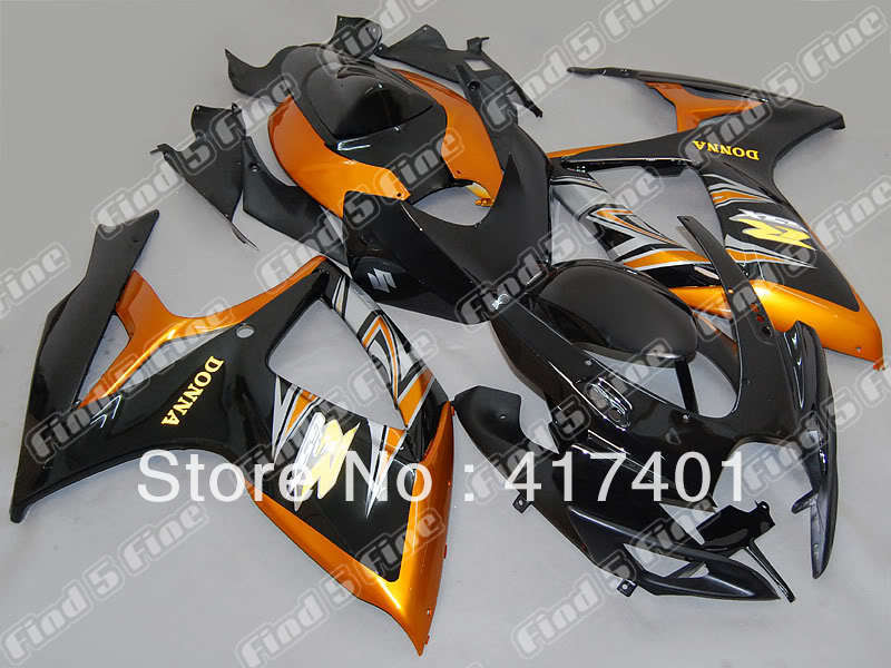 golden black for SUZUKI GSX R600 R750 06-07 GSXR 600 750 GSXR600 GSXR750  GSX-R600 GSX-R750 K6 06 07 2006 2007 fairing kit