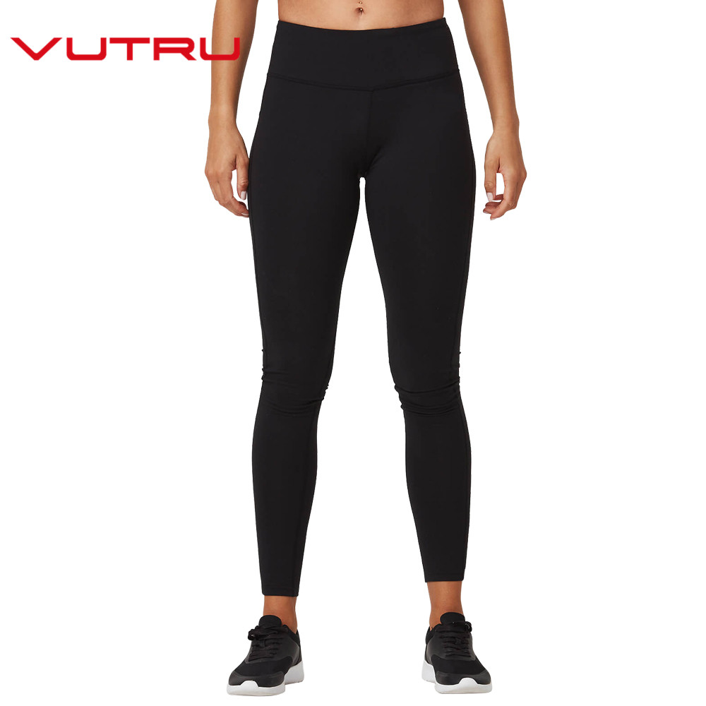 Vutru Women Yoga Pants Sports Running Tights Black Lady Sportswear Leggings Sports Fitness Slim V8LD099H reflective leggings glow in the dark night light side stripes shiny sports yoga pants dancing tights sportswear for women female