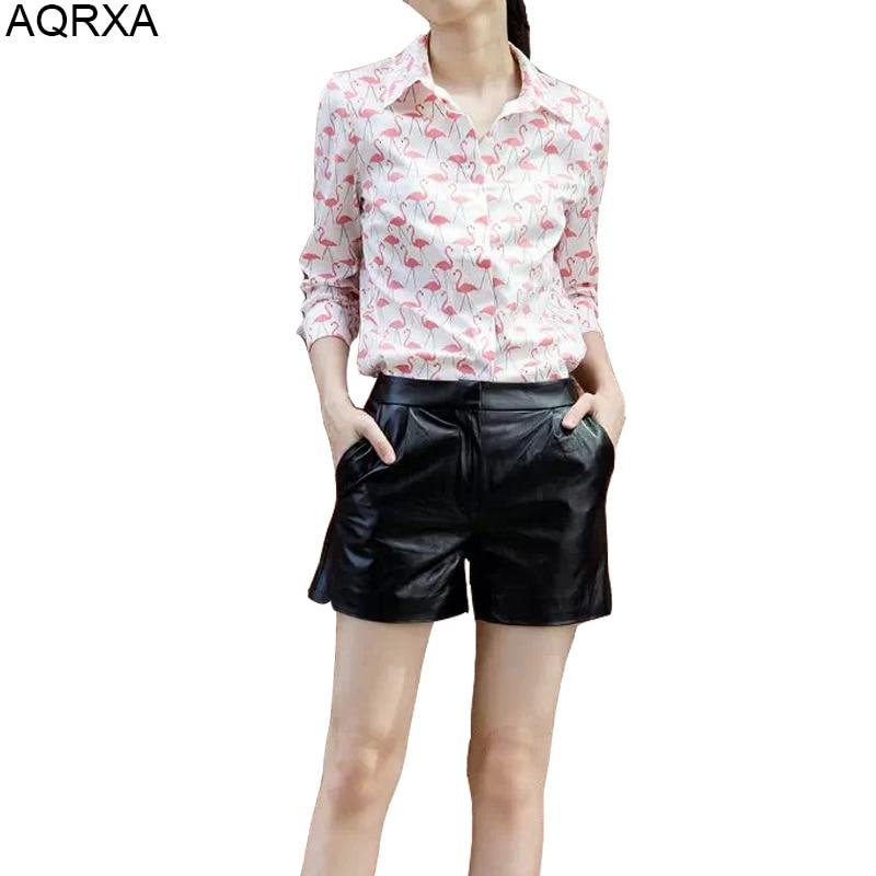 Women flamingo print Shirt Casual Fashion Shirt Ladies Pink red Shirt New blouse 2015 Hot Sale cotton Female Spring Summer blouse