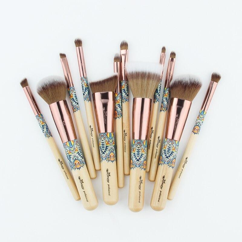 Anmor Nouveau 9 PCS Maquillage Pinceaux Synthétique Souple Maquillage Brosses avec Sac Noir 11