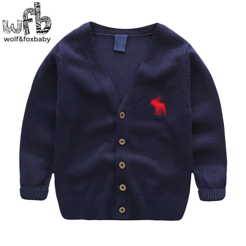 Retail 2-8years knitted sweaters Cardigan deer V-neck solid color baby kids children Clothes spring autumn fall