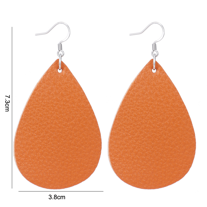 New Teardrop Leather Earrings Petal Drop Earrings Antique Lightweight S925 Carved Stainless Steel Earrings For Women Gifts 17
