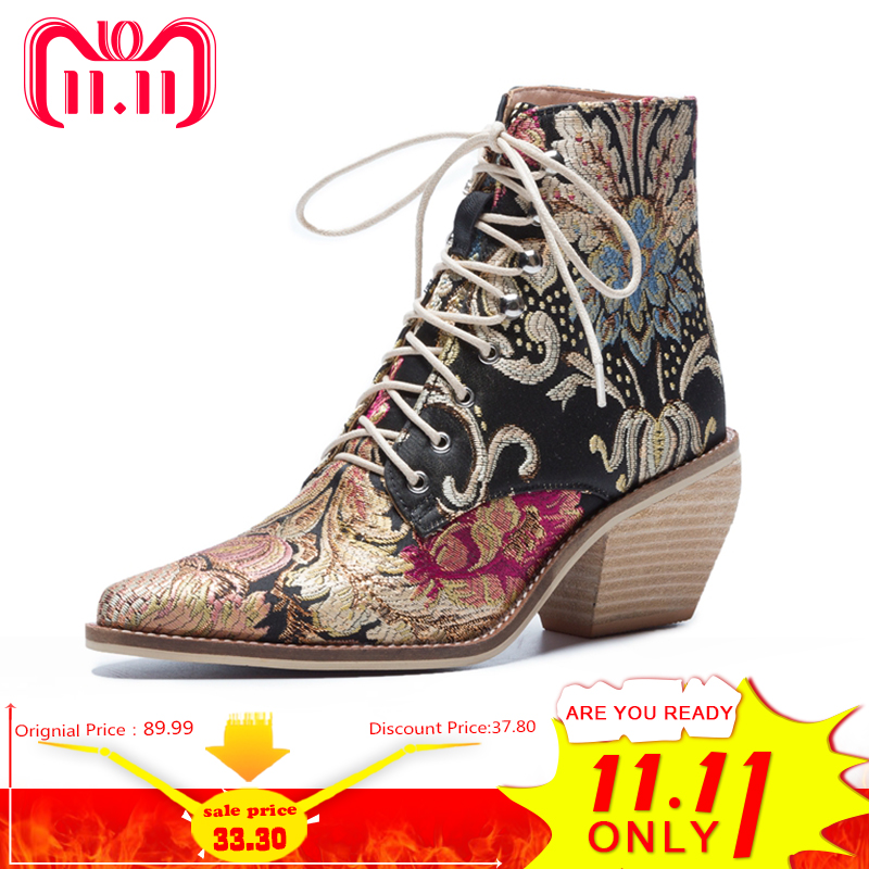 купить 2018 New Women Luxury Silk Boots Martin Ankle Boots New Autumn Winter Embroider Womens Motorcycle Boots Lace Up Shoes Woman по цене 2526.92 рублей