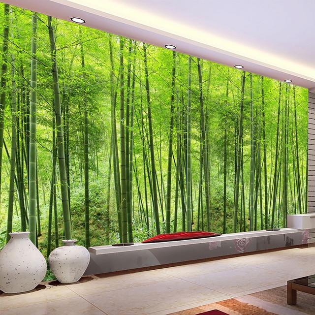 วอลล์เปเปอร์ที่กำหนดเองไม้ไผ่ป่าศิลปะภาพวาดผนังห้อง