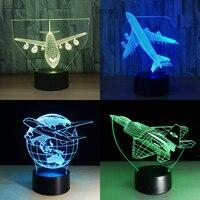 Tocco di Telecomando Aereo Air 3D Luce Lampada Da Tavolo A LED Optical Illusion Lampadina Luce di Notte 7 Colori Che Cambiano la Lampada di Umore lampada USB