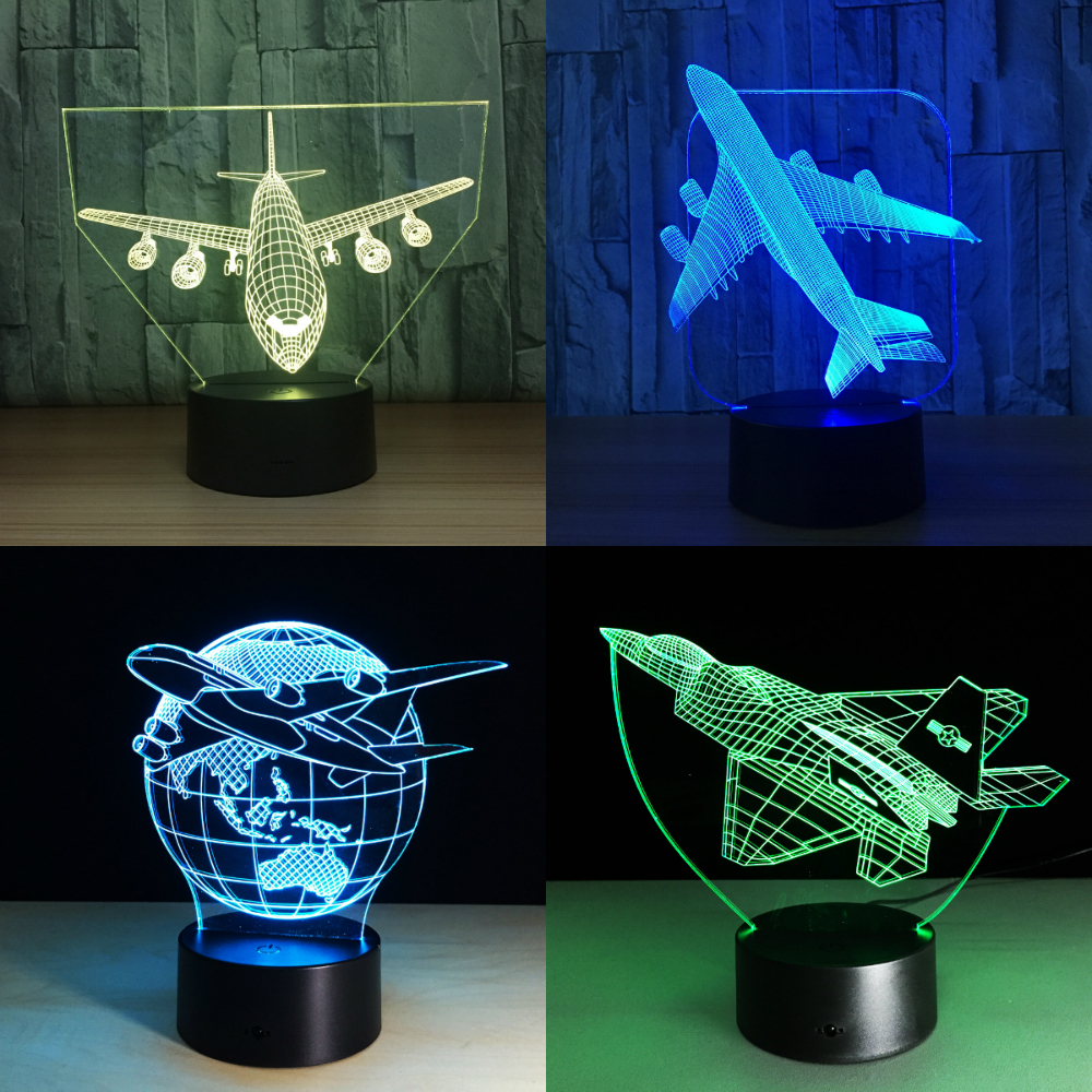 Touch Remote Control Air Plane 3D Light LED Table Lamp Optical Illusion Bulb Night Light 7 Colors Changing Mood Lamp USB Lamp