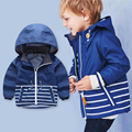 2017 spring autumn New arrival cute baby boy coat striped hooded windbreaker jacket boys casual outfit children