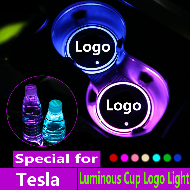 US $10 0 50% OFF|2X Led Car Logo Cup lights For Tesla Roadster Model 3 s x  Logo light Luminous Coaster Anti Slip Atmosphere lamp Accessories-in Drinks