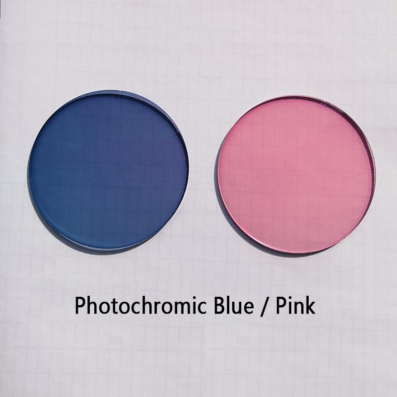 1.56 Photochromic Pink / Blue Sunglasses Lens Single Vision Lens 0~-6.0 Myopia Optical Prescription Lenses for Eyewear UV400(China)