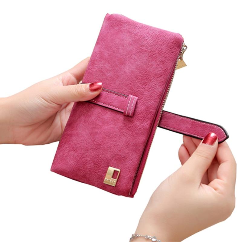 2018 Solid Drawstring Nubuck Leather Zipper Long Women Wallet Phone Bag Luxury Brand Wallets Designer Purse Card Holder Clutch 2