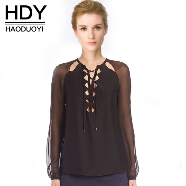 1ad2ac7f7375f6 HDY Haoduoyi Fashion Women Tops Tie Front V Neck Long Sleeve Sheer Shirts  Slim Solid Color Brief Style Soft Female Blouses Women