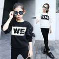 new 2017 white black letter long sleeve t shirt baby big girls tees tops kids spring autumnteen clothes children cotton shirt
