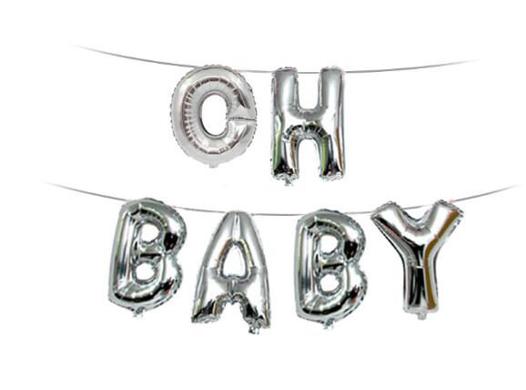 OH BABY Balloons Baby Shower Decorations Boy girl Shower Banner Gender Reveal Gold Silver Letter Birthday Favor