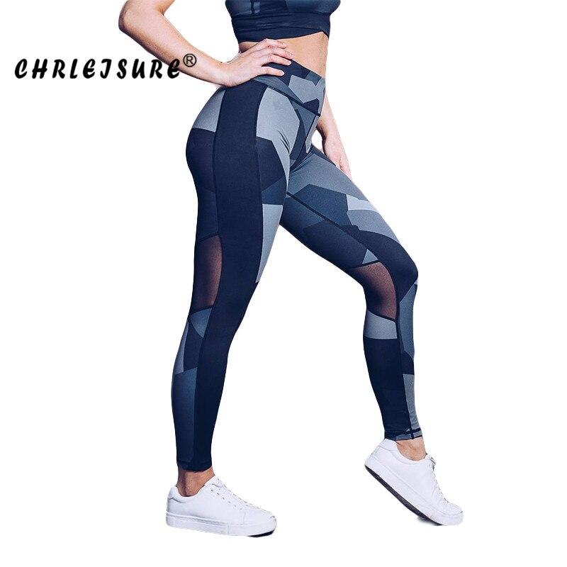 CHRLEISURE mallas malla mujeres 2018 Impresión Digital Legging Europa los Estados Unidos costura convencional transpirable cadera Pantalones