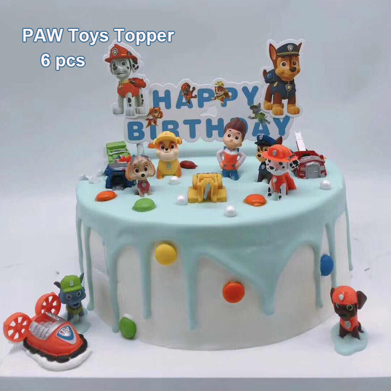 Paw Pvc Doll Toy 6 Pcs Cake Topper Kids Boy Birthday Gift Paw Dog