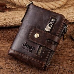 Image 5 - Free Engraving 100% Genuine Leather Men Wallet Coin Purse Small Mini Card Holder Chain PORTFOLIO Portomonee Male Walet Pocket