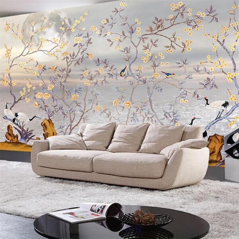 beibehang Custom photo wallpaper High quality silk cloth hand-painted flowers and birds plain stereo large mural wall paper beibehang custom photo floor painted