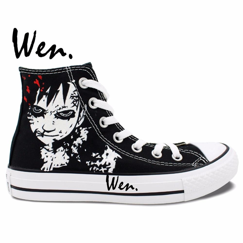 ФОТО Wen Hand Painted Black Anime Shoes Design Custom Naruto Shippuuden Gaara Men Women High Top Canvas Sneakers Boys Gifts