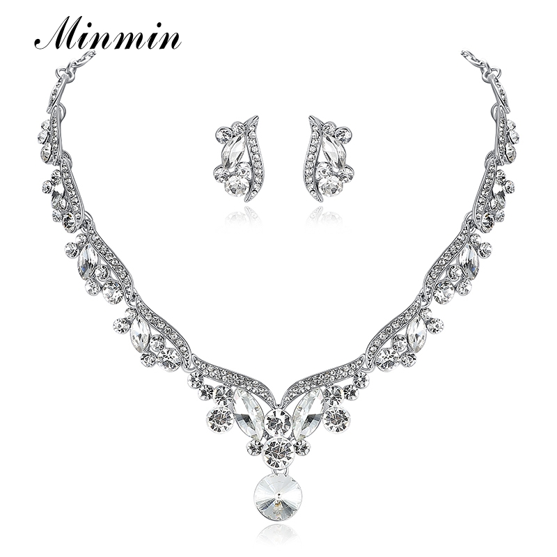 Minmin stříbrná barva křišťálu elegantní šperky sady pro - Bižuterie