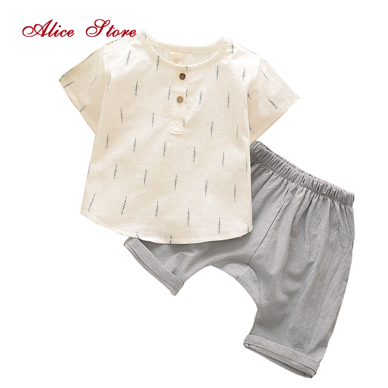 New Summer Children Boys Clothes Kids Short T-shirt Pants Cotton Comfortable Cartoon Boys Clothing Set