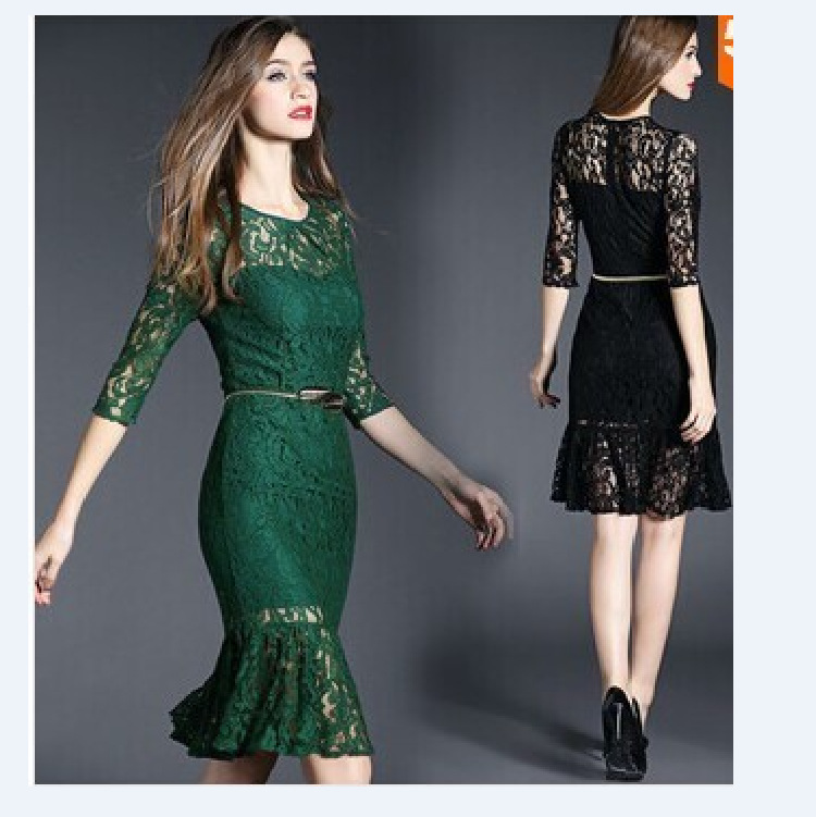 1123 Hot Selling Latest Women 39 S Fashion Style Dress New Design Falbala Lace Perspective Dress