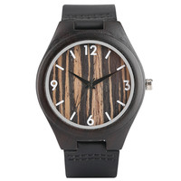 Luxury Fashion Men Women Quartz Ebony Wooden Watches Black Brown Genuine Leather Watchband Wood Lines Pattern