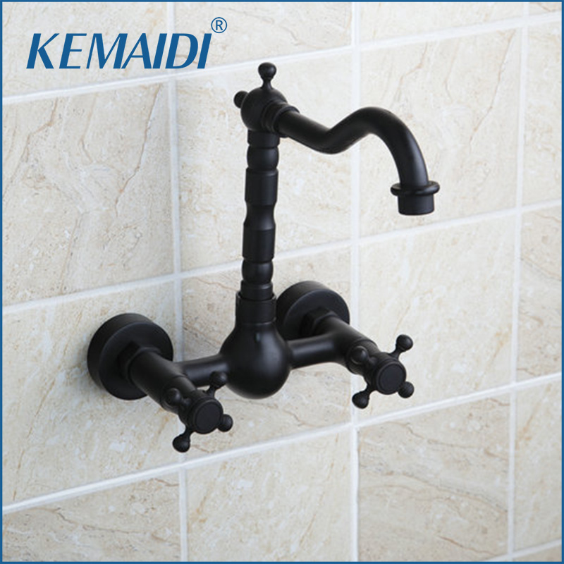 KEMAIDI  Bathtub Torneira Tall Hot/Cold Wall Mounted Oil Rubbed Black Bronze 97113 Bathroom Basin Vessel Sink Faucet,Mixer Tap bathroom accessory wall mounted black oil rubbed bronze toothbrush holder with two ceramic cups wba451