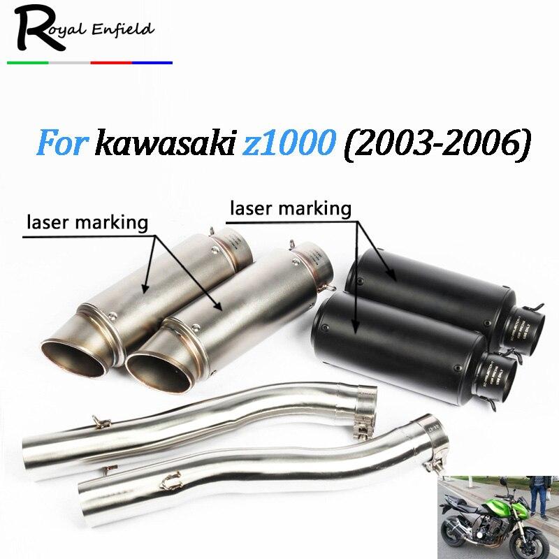 Здесь можно купить  Motorcycle exhaust pipe z1000 Set Shipping Slip On Mid Pipe Set Race Exhaust For Kawasaki Z1000 2003 2004 2005 2006  Автомобили и Мотоциклы