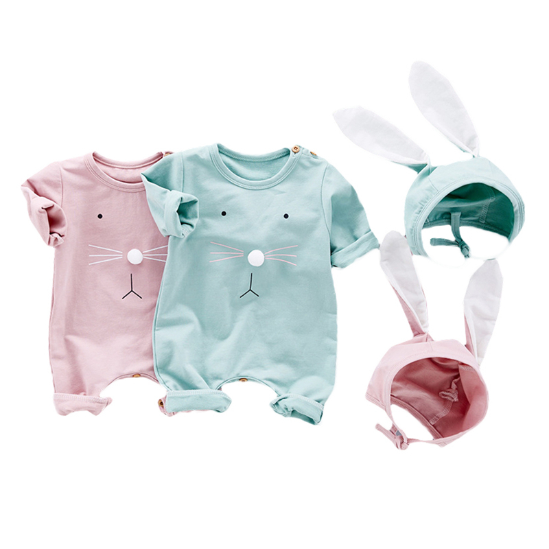 2017 New style cute boys and girls rompers baby long rabbit ears hooded jumpsuit newborn babies cotton out baby boy girl clothes