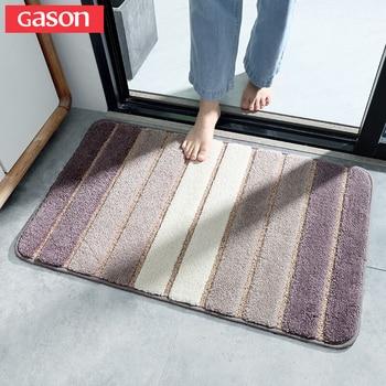 Gason 큰 선택 간단한 줄무늬 침실 문 카펫 욕실 욕실 미끄럼 방지 물 흡수 느린 리바운드 욕실 매트