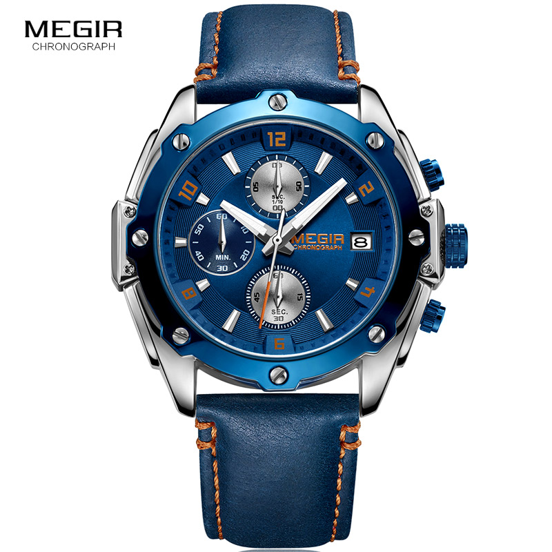 2018 Nye MEGIR Luxury Brand Quartz Watches Mænd Analog Kronograf - Dameure - Foto 2