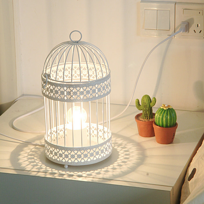 fashion bird cage table lamp small night light real child. Black Bedroom Furniture Sets. Home Design Ideas